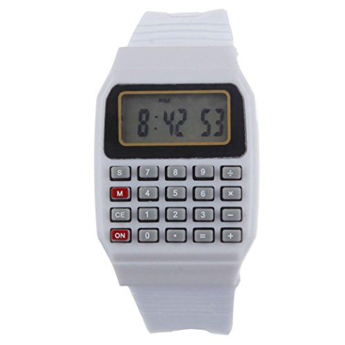 Price comparison product image Unsex Silicone Multi-Purpose Date Time Electronic Wrist Calculator Watches by Rakkiss (White)