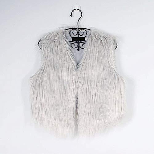 Manches Automne Spécial Art Femme En Grau Hiver cou Branché Elégante Gilet Veste Fourrure Style Unie Couleur Taille Grande Sans V Courte Manteau PW8c1n6