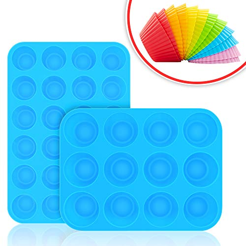 - Bligli Muffin Cupcake Pan Set - Mini 24 Cups and Regular 12 Cups Muffin Tin, Nonstick BPA Free Best Food Grade Silicone Molds with Bonus 12 Silicone Baking Cups (Molds Set)