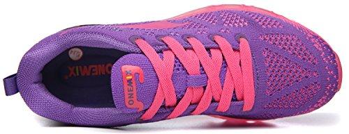 Onemix Femmes Coussin Dair En Plein Air Sport Chaussures De Course Léger Sneakers Occasionnels Violet / Rouge