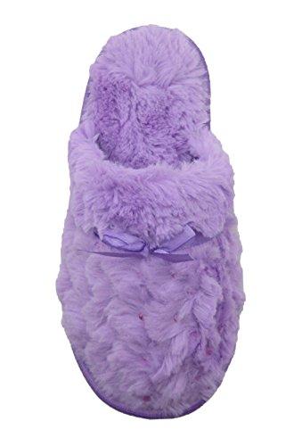Classy amp; Furry Satin Sequins Lilac Ribbon w Slippers Blue Fashion U0n1g5U