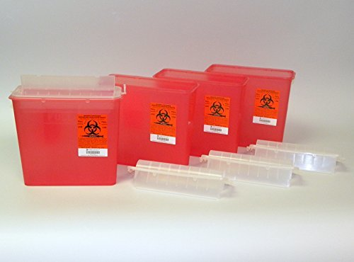 McKesson 2262 Prevent 5 Quart Sharps Containers Red (4 Pack) by Prevent