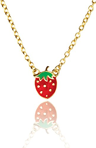Girl Nation Little Treasures Collection Enamel Strawberry Fields - Butterfly Charm Enameled Red