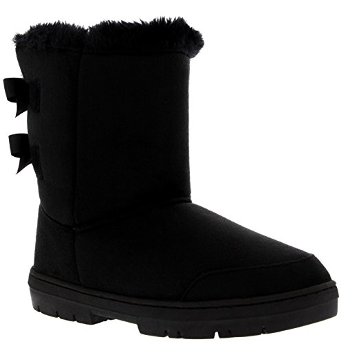Holly Womens Twin Bow Tall Classic Waterproof Winter Rain Snow Boots - Black - 9 - BLA40 AEA0234