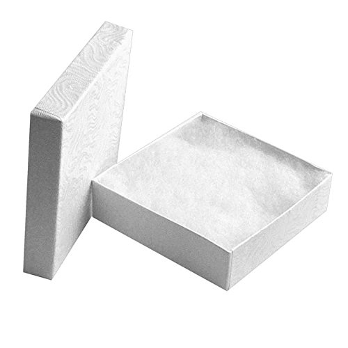 """100 Cotton Filled Boxes Size 33, 3.5"""" x 3.5""""x 1"""" , White size #33 by Jewelers Supermarket"""