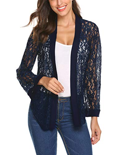 (Women's Sheer Shrug Tie Front Cropped Lace Open Front Bell Sleeve Crochet Crop Bolero Cardigan(Navy Blue,M))