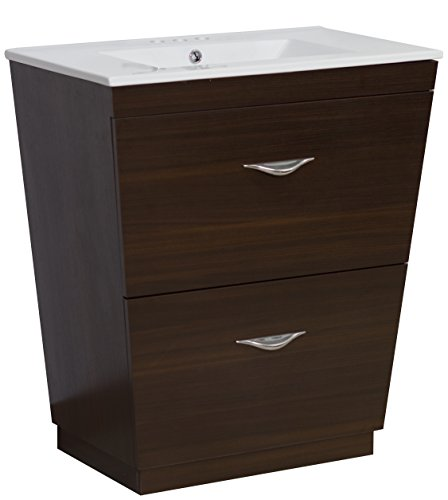 s Rectangle Shape Modern Vanity Set, Comes with a Melamine Finish in Wenge Color and Designed for a 4-In. O.C. Faucet ()