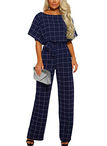 - Asyoly Women Casual Batwing Sleeve Checked Long Pants Loose Wide Legs Jumpsuits