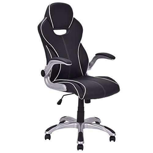 Giantex Racing Style Gaming Chair with Adjustable Armrest PU Leather Executive High Back Office Chair Computer Desk Task Chair Black