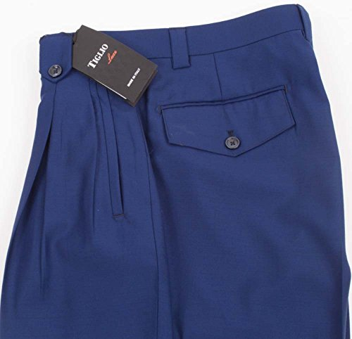 Tiglio 2576 French Blue Wide Leg Dress Pants Pure Wool (Mens Pure Wool)