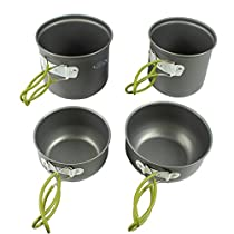 G4Free Outdoor Camping pan Hiking Cookware Backpacking Cooking Picnic Bowl Pot Pan Set 4 Piece Camping Cookware Mess Kit