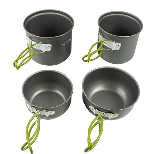 - G4Free Outdoor Camping pan Hiking Cookware Backpacking Cooking Picnic Bowl Pot Pan Set 4 Piece Camping Cookware Mess Kit(4 PCS-Green)