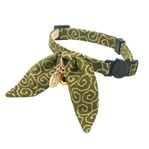 - PetSoKoo Unique Bunny Ears Bowtie Cat Collar, Japan Traditional Lucky Pendant and Gold Bell. Safety Breakaway, Light Weight, Soft, Durable. Quick Release and Easy Adjustable (Standard, Green)