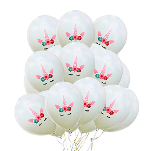 AMZTM Unicorn Balloons - Rainbow Unicorn Themed Party Decorations for Cute Fantasy Fairy Girls Baby Shower Birthday Wedding Bride to be Party Supplies 30 Pieces (12 inches) (White)