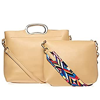 Yuejin Crossbody Bag and Wallet Set for Women - Apricot