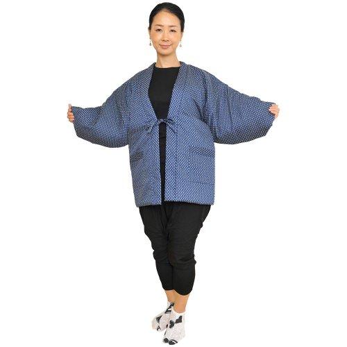 일본제(MADE IN JAPAN)동 레이디스 따스한 겉옷 반(半)고지 않겠 중면-안솜 들어감 도트무늬 뒤 퀼트 7 일본 방한복 한텐