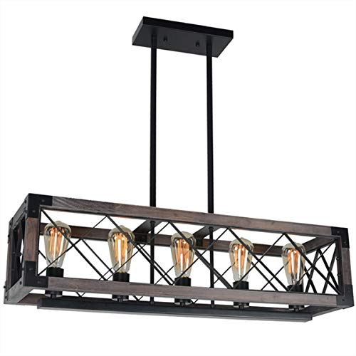 Baiwaiz Rustic Wood Chandelier, Metal Rectangle Dining Room Chandelier Lighting Farmhouse Kitchen Island Light Fixtures 5 Lights Edison E26 032