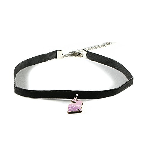 """RedCube Black Velvet Choker Necklace With Pink Hare Wooden Pendant Lobster Clasp 14"""" Long (Hare)"""