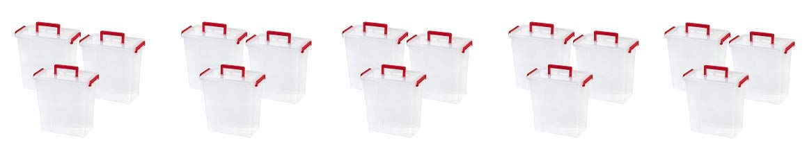 IRIS USA, MLBH-290DD, Holiday Bow Box with Handle, 11 Qt, Red, 3 Pack (5-(Pack))