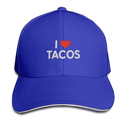 SKOKT I Love Tacos Unisex Baseball Cap Golf Hats Plain Cap Blue
