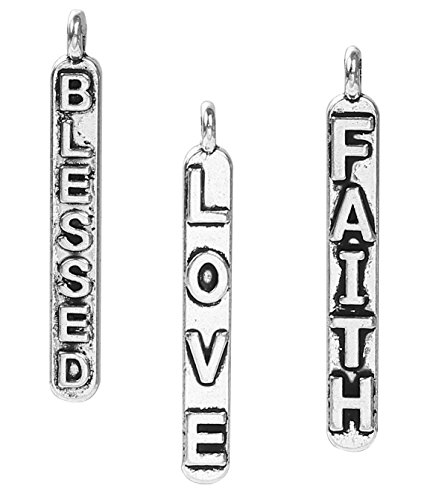 Faith Blessed Love, Inspirational Message Charms (48 of Each), 1 1/8 inch, Silver - Jewelry Cancer Breast Wholesale