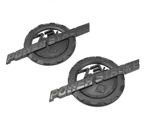 2 NEW MATTE BLACK FORD CUSTOM 7.3L F250 F350 POWERSTROKE INTERNATIONAL DOOR BADGES EMBLEMS SET PAIR (Custom Truck Emblems)