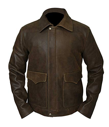 Indiana Jones Harrison Ford Brown Cow Hide Real Leather Jacket (2XL)