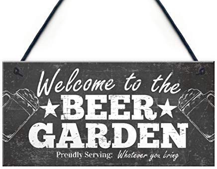 LilithCroft99 Welcome Sign Beer Garden Signs Hanging Wall Pub Garden Plaques Alcohol Friendship Gifts