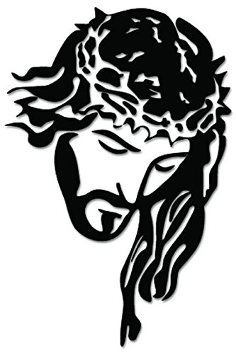 (Jesus Christ Christian Catholic Vinyl Decal Sticker For Vehicle Car Truck Window Bumper Wall Decor - [6 inch/15 cm Tall] - Gloss BLACK Color)