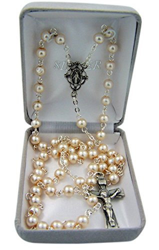 SINGER SEWING CO. Catholic White Glass Prayer Bead Rosary...