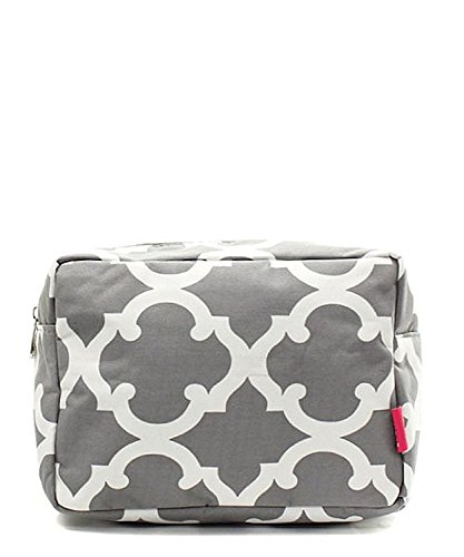 N. Gil Large Travel Cosmetic Pouch Bag (Geo Grey)