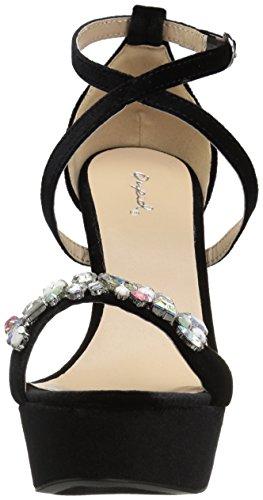 Sandalo Vellutato Nero Sandalo Con Plateau Donna