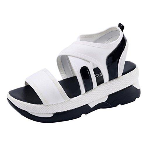 Sandalias Mujer Plataforma, Culater Sandalias deportivas, Tela elástica Blanco