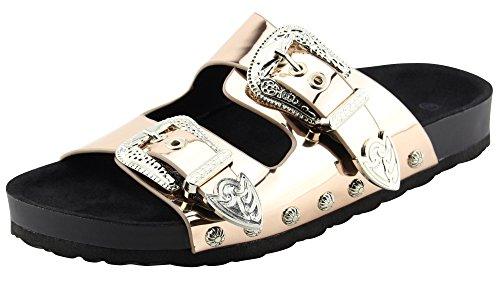 Cambridge Select Women's Open Toe 2 Strap Western Cowboy Buckle Slip-On Flat Slide Sandal,7 B(M) US,Rose Gold Patent PU