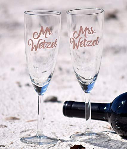 Personalized Wedding Flutes 2 Toasting Flutes Engraved Wedding Flute Monogram Toasting Flutes Bride & Groom Champagne Flutes Wedding Glasses ()
