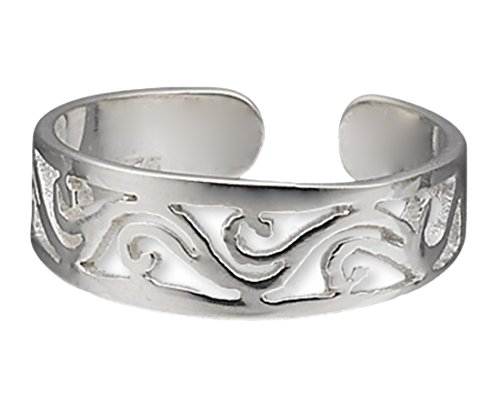Toe Ring Wave Filigree Design Sterling Silver Sterling Silver Dragon Art