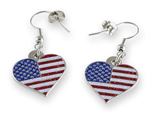 American Flag Patriotic Heart Glitter Earrings (1 (Flag Dangle)