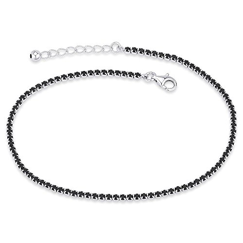 NYC Sterling Women Sterling Silver Cubic Zirconia Anklet Bracelet (Black)