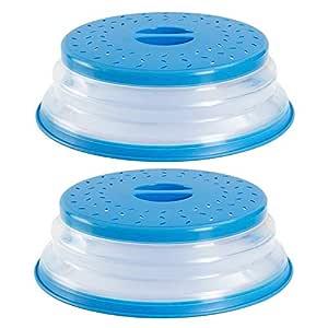 Tapa para Microondas Plegable, Juego de 2 Silicona Cubre para Microondas con Ventilación, Colador Plegable para Vegetales y Frutas, 10.5 inch de ...