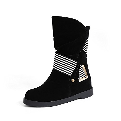 Allhqfashion Women's Low-Top Assorted Color Pull-On Round Closed Toe Low-Heels Boots Black