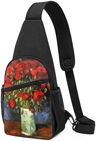 ボディ肩掛け 斜め掛け 赤いヒナゲシのある花瓶 ショルダーバッグ ワンショルダーバッグ メンズ 軽量 大容量 多機能レジャーバックパック