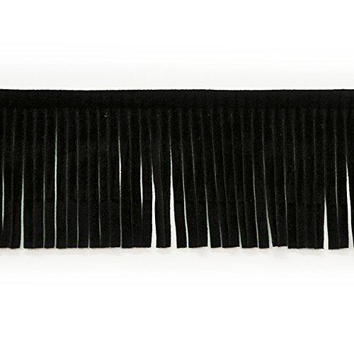 Black Leather Fringe - Expo International IR6824BK-10 Cord Trim Black
