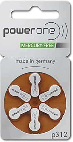 PowerOne Hearing Aid Batteries Size 312 - 10 Packs of 6 Cells (no mercury)