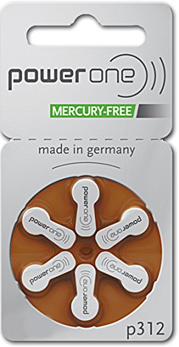 PowerOne Hearing Aid Batteries Size 312 - 10 Packs of 6 Cells (no mercury)