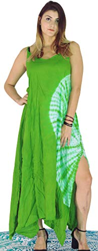 Third Eye Export Vintage Indian 90s Hippie Tie Dye Long Tank Dress India Gauze Psychedelic Beach Wear Summer Sleeveless Bohemian Women Girls Fashion Rayon Dresses (Green, XX-Large)