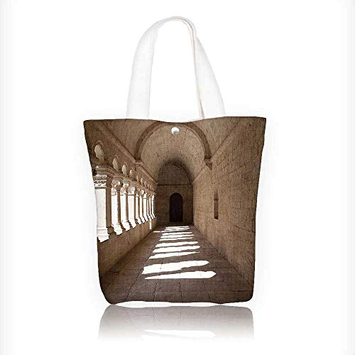 Canvas Tote Handbag France Provence Senanque Abbey Corridor Landmark Classication Shoulder Bag Purses For Men And Women Shopping Tote W11xH11xD3 INCH ()