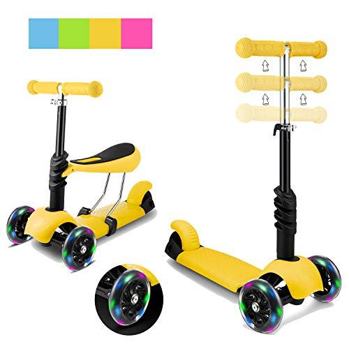 Aceshin Patinete 2 en 1 para niños Patinete de 3 ruedas para niños pequeños con asiento extraíble con freno, ruedas con luz LED, manillar ajustable para inclinarse hacia la dirección
