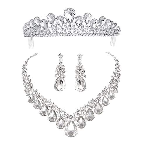 (Youfir Bridal Rhinestone Crystal V-Shaped Teardrop Wedding Necklace and Earring Jewelry Sets for Brides Formal Dress (Three-Piece Silver Tone))