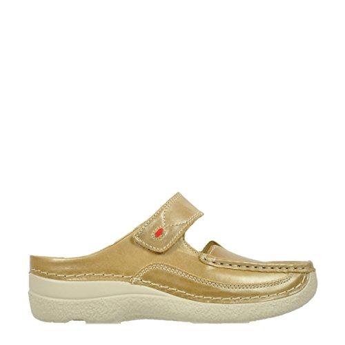 Muli Sassosi Da Donna 0622712070-roll-slipper Nero 464908 932 In Pelle Color Bronzo
