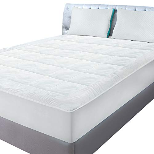 - Utopia Bedding Fleece Queen Mattress Pad - Quilted Fitted Mattress Pad Queen Stretches up to 16 Inches Deep - Mattress Cover - White